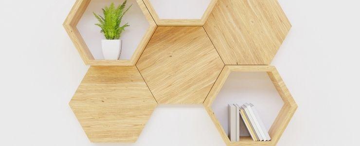 Embellished Hexagonal Bookshelf Design