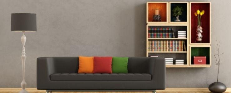 Multi Colored Bookshelf Compartments