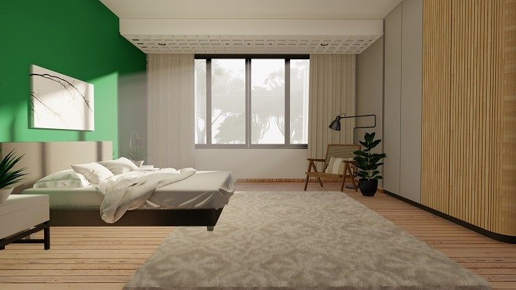 Forest Green Bedroom with Neutral Accents