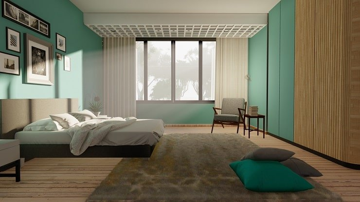 Bedroom with Mint Blue with Sheer White Curtains