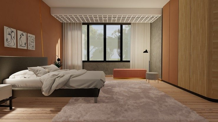 Bedroom With Burnt Sienna and White and Gold Accents
