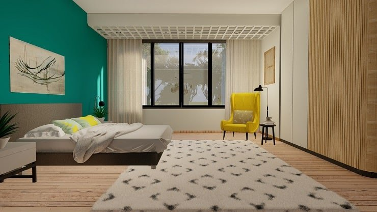 Teal Bedroom With Yellow Accents