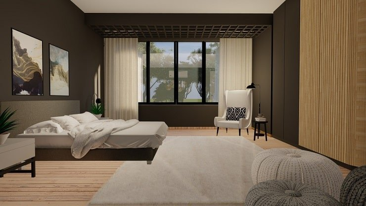 Charcoal Gray Bedroom With Soft White Accents
