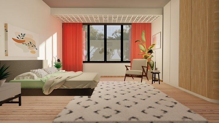 Ivory Bedroom With Tangerine Curtains