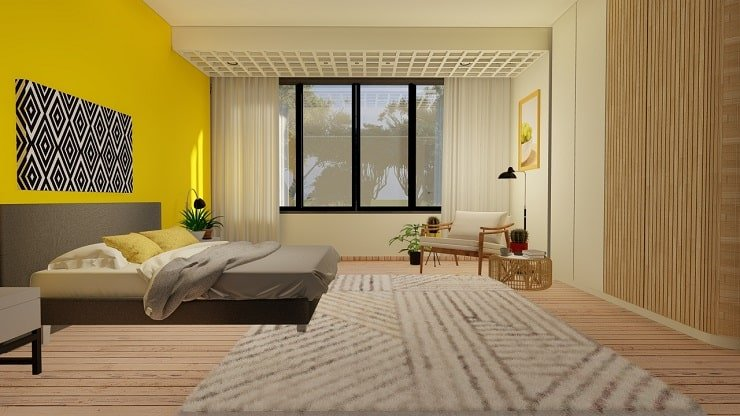 Bright Yellow Bedroom With Monochrome Accents