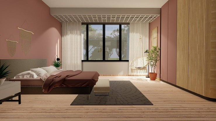 Marsala Bedroom With Gray Accents