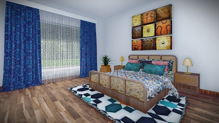 African Themed Bedroom With Moroccan Fabrics