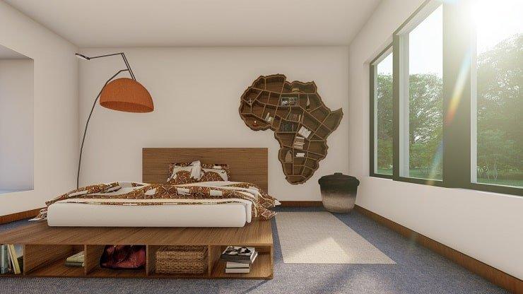 African Themed Bedroom With Custom Shelf