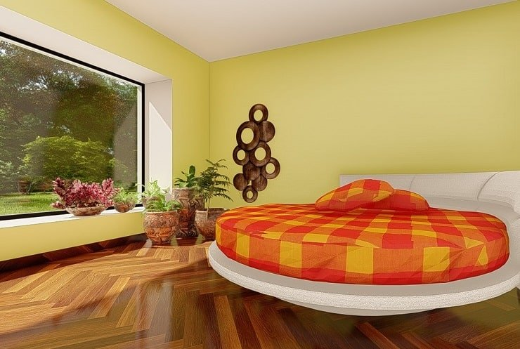 African Themed Bedroom With Engraved Pots