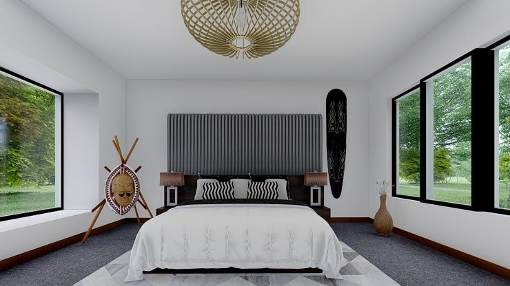 African Themed Bedroom With Sculptures and Carvings