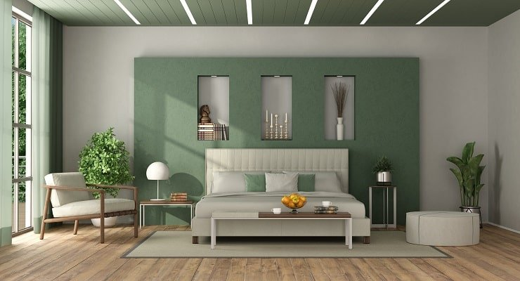 Small Bedroom With Light Colored Ceiling