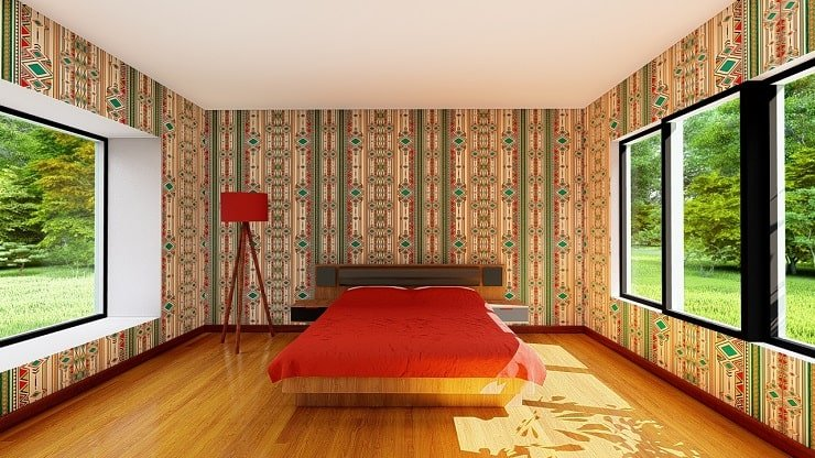 African Themed Bedroom With South African Wallpaper