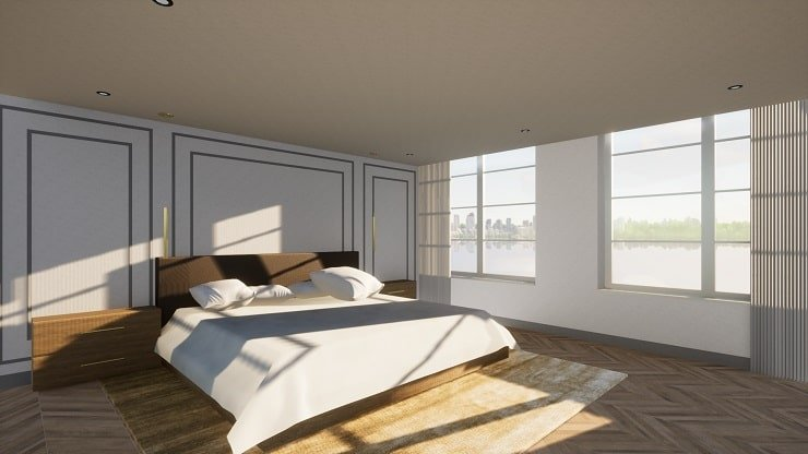 Small Bedroom Where the Walls and Ceiling are the Same Color