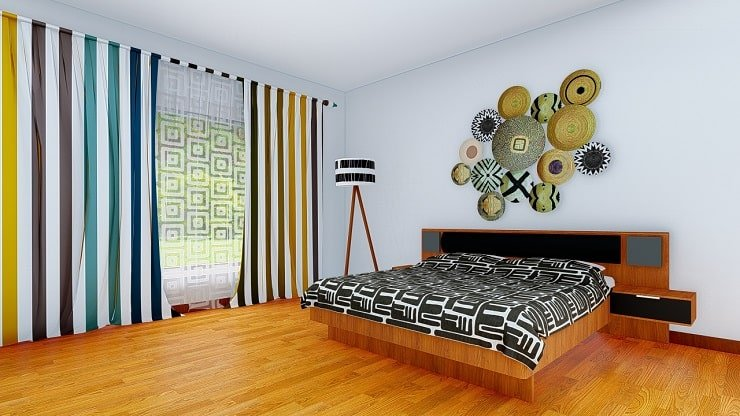 African Themed Bedroom With African Wall Plates