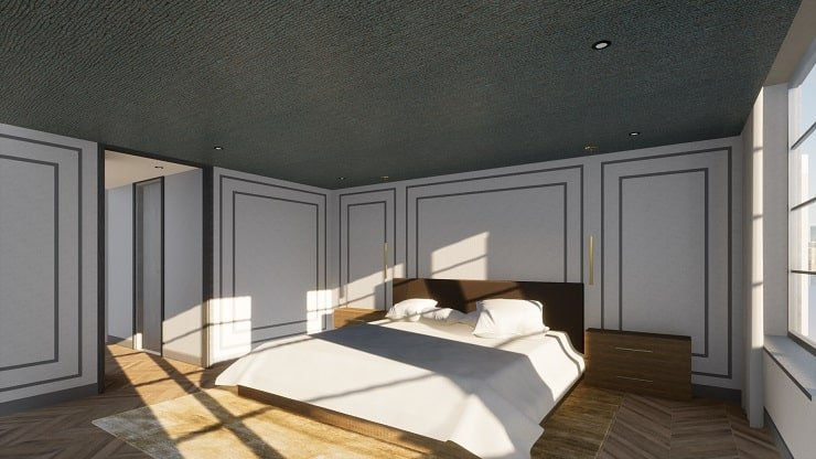 Small Bedroom With Wallpapered Ceiling