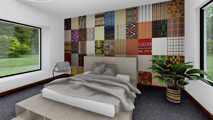 African Themed Bedroom With Accent Wall