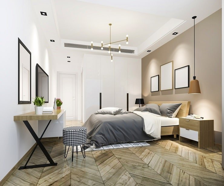 Small Bedroom With Multiple Light Fixtures