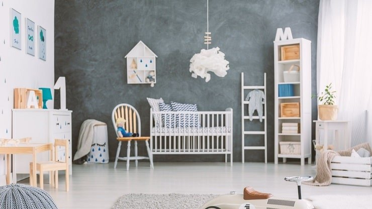 Dark Wallpaper Accent Wall for Child's Bedroom