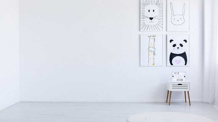 Kids Bedroom With White Base Color