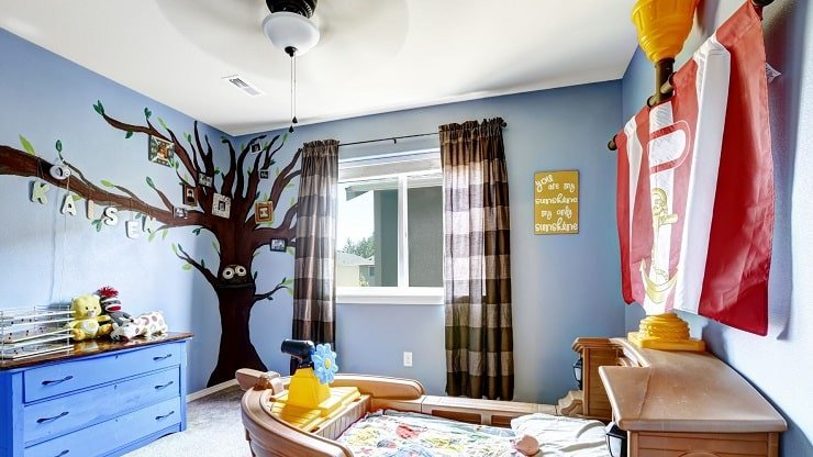 Kid's Small Bedroom With Two Tone Walls and Ceiling