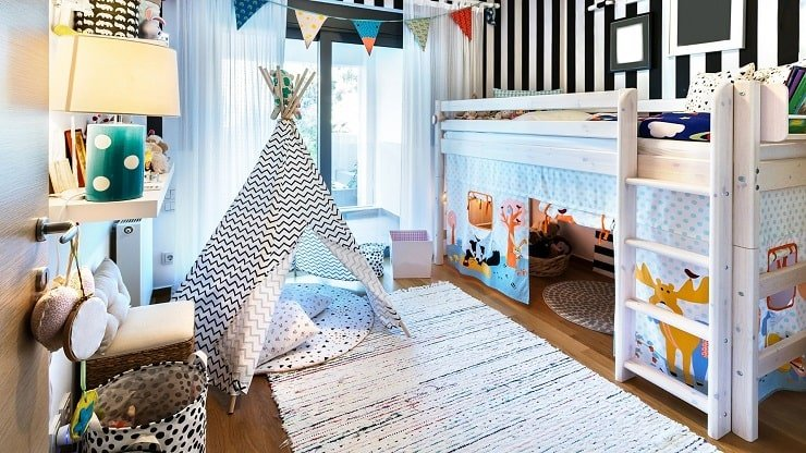 Loft Bed in Kid's Small Bedroom to Save Space