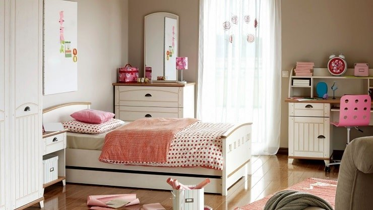 Older Child's Small Bedroom With Study Space