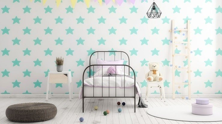 Small Kid's Bedroom With Durable Bed