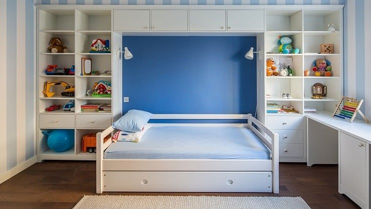 Wall Storage for a Small Kid's Bedroom