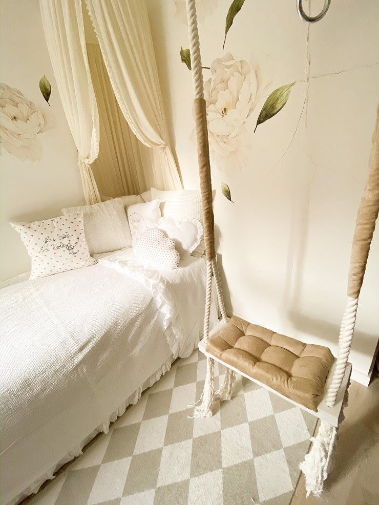 10 Year Old Girl's Bedroom With Canopy and Rope Swing