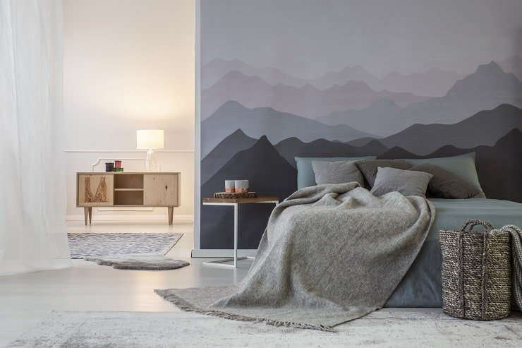 10 Year Old Girl's Bedroom With Mountain Mural