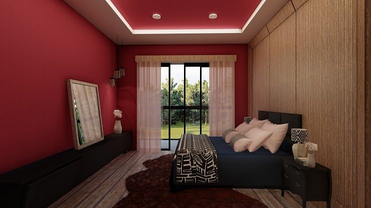 Black Bedroom Furniture With Burgundy Walls and Navy Blue Bedding