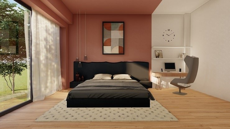 Black Bedroom Furniture with Tea Pink