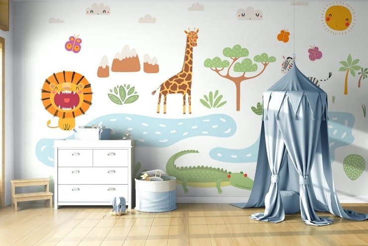 Boy's Small Bedroom With Themed Wallpaper