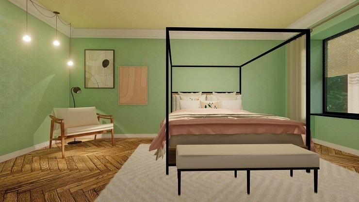 Black Bedroom Furniture Mint Green and White Curtains
