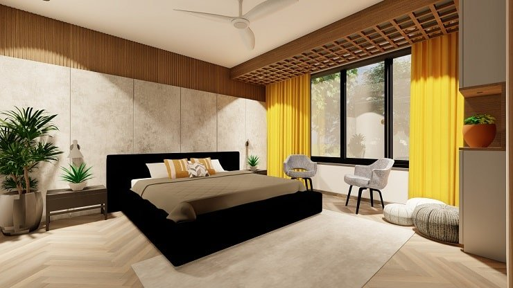 Black Bedroom Furniture with Gray and Bright Yellow Accents