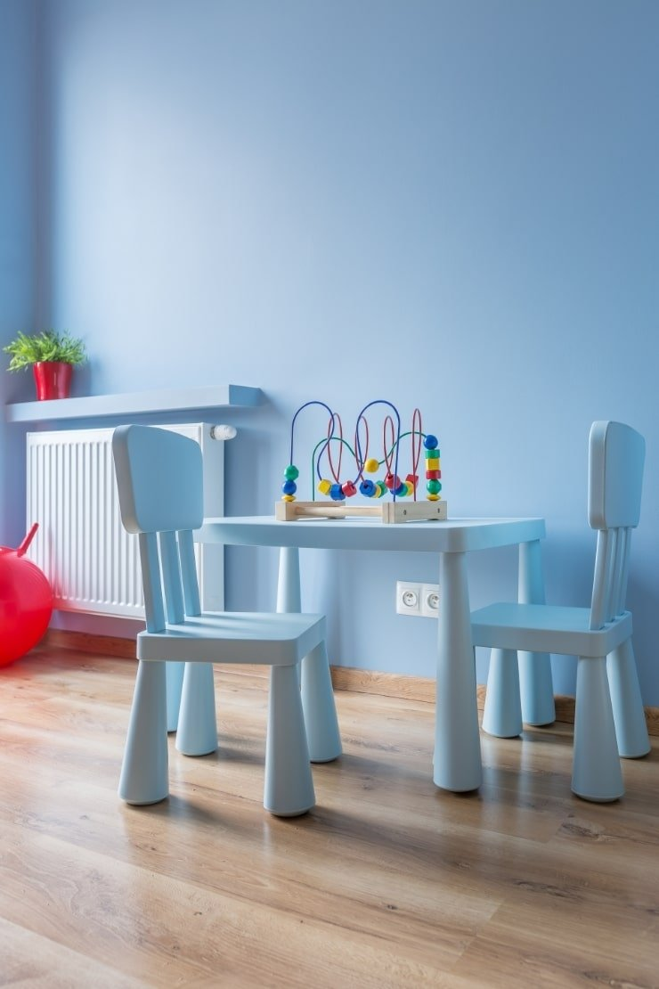 Boy's Small Bedroom With Play Table