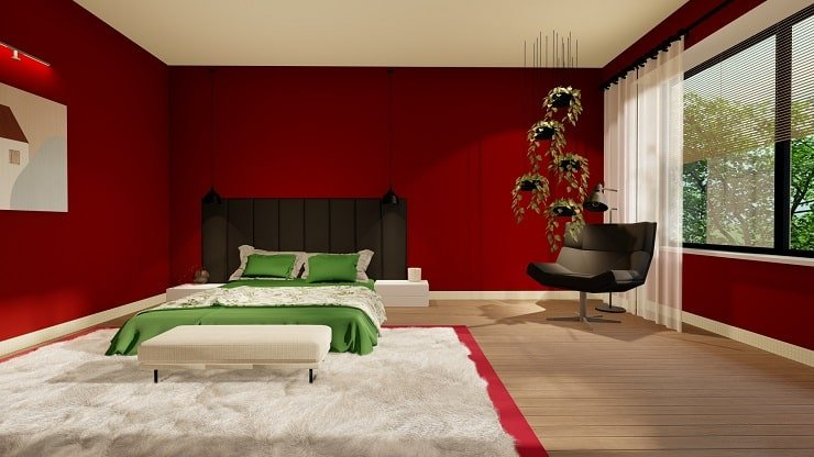 Black Bedroom Furniture with Oxblood and Green Bedding