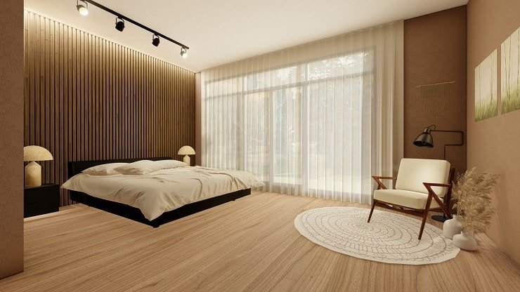 Black Bedroom Furniture with Mocha Brown and White Linens
