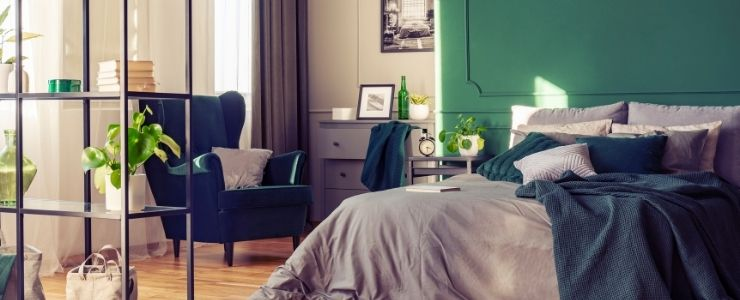 Bedroom With Dark Green Walls .