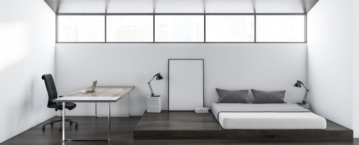 Small Guest Room and Office Design Combo