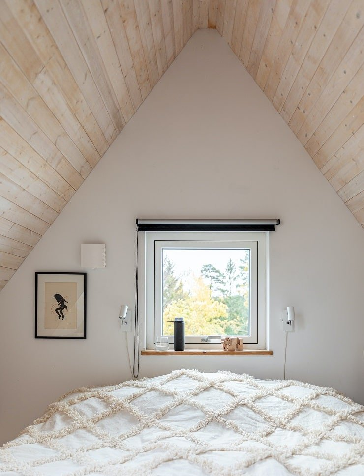 Very Small Attic Bedroom With Window Above the Bed
