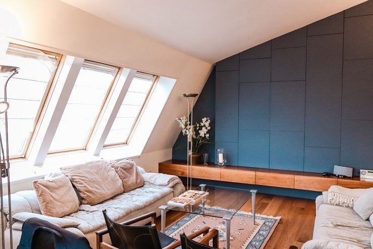 Very Small Attic Bedroom With Painted Accent Wall