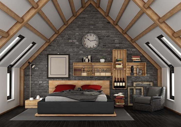 Very Small Attic Bedroom With Boxed Wall Storage