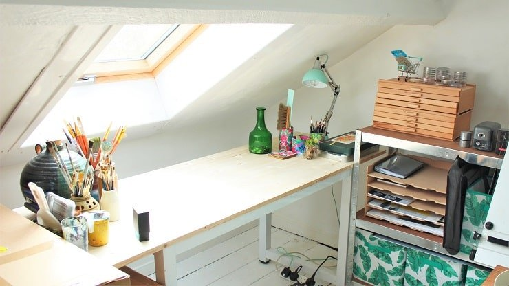 Very Small Attic Bedroom With Workstation